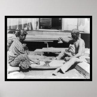 Fabricación del Poi en Hawaii 1908 Impresiones