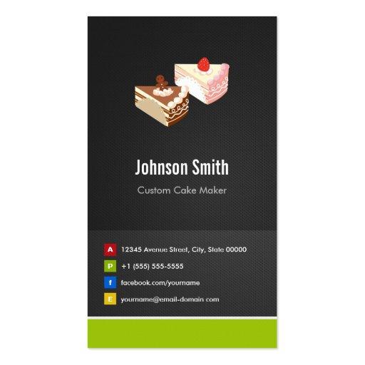 Fabricante de encargo de la torta de la rebanada - plantillas de tarjeta de negocio