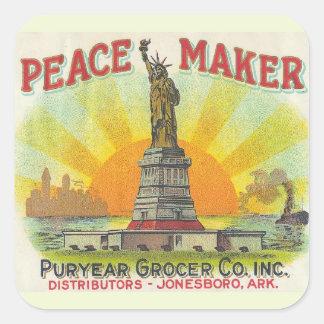 Fabricante de la paz pegatina cuadrada