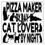 Fabricante de la pizza del amante del gato reloj