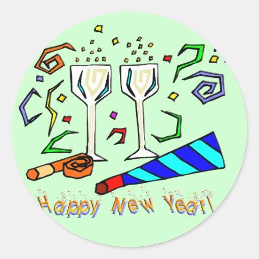 Fabricantes del ruido del Año Nuevo Pegatinas Redondas