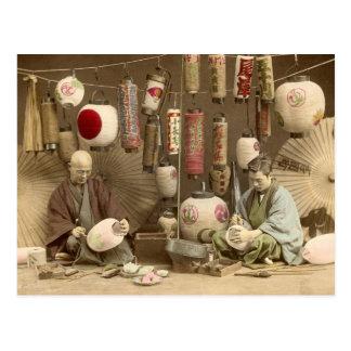 Fabricantes japoneses de la linterna de papel, postal