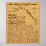 Fábricas de conservas de color salmón del mapa del poster