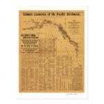 Fábricas de conservas de color salmón del mapa del postal