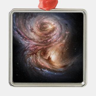 Fábricas de la estrella en el universo distante adorno cuadrado plateado