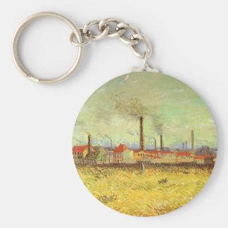 Fábricas en Asnieres, Van Gogh, bella arte del Llavero Redondo Tipo Chapa