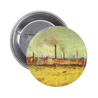 Fábricas en Asnieres, Van Gogh, bella arte del Chapa Redonda 5 Cm