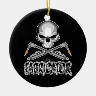 Fabricator Skull: Crossed Torches Ceramic Ornament