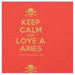 [Skull crossed bones] keep calm and love a aries  Fabrics Fabric