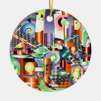 fabrique adorno navideño redondo de cerámica