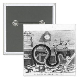 Fábula de la serpiente y de los ficheros pin cuadrada 5 cm