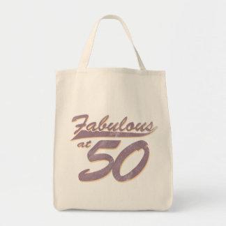 Fabuloso en el cumpleaños 50 bolsa tela para la compra