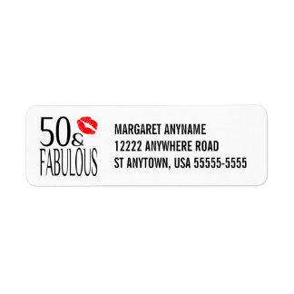 Fabuloso y cincuenta etiqueta de remite