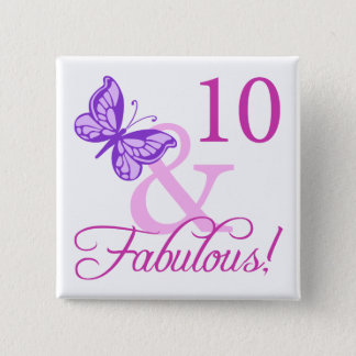 Fabulous 10th Birthday Button