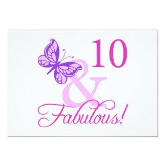 "Fabulous 10th Birthday 5"" X 7"" Invitation Card"