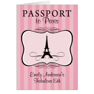 Fabulous 15th Passport Invitation Stationery Note Card
