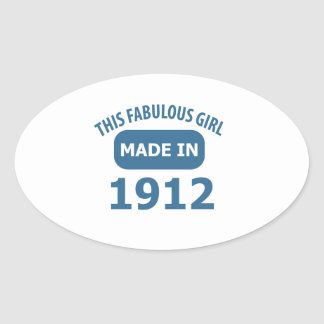 Fabulous 1912 year old designs oval sticker