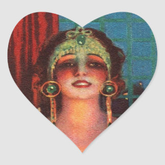 Fabulous 1920s Flapper Era Showgirl Heart Sticker
