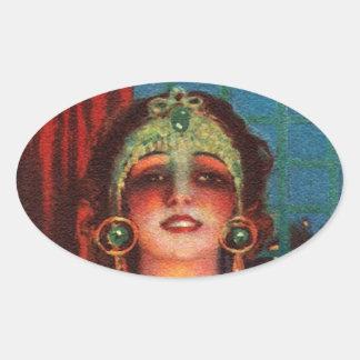 Fabulous 1920s Flapper Era Showgirl Oval Sticker