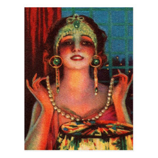 Fabulous 1920s Flapper Era Showgirl Postcard