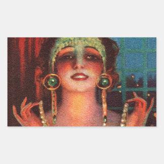 Fabulous 1920s Flapper Era Showgirl Rectangular Sticker