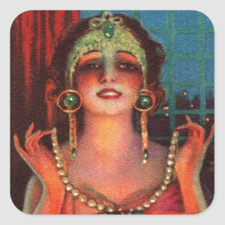 Fabulous 1920s Flapper Era Showgirl Square Sticker