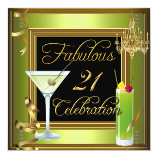 Fabulous 21 Celebration Gold Green Birthday Party Card