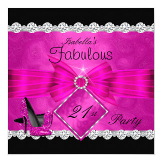 Fabulous 21 Hot Pink Black Silver Birthday Party 2 Card