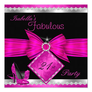 Fabulous 21 Hot Pink Black Silver Birthday Party Card