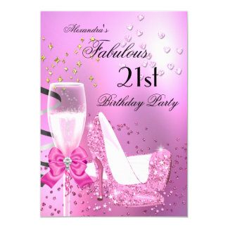 Fabulous 21st Shimmer Light Pink Heels Birthday 2 5x7 Paper Invitation Card