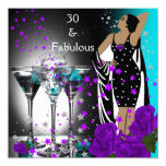 Fabulous 30 30th Birthday Teal Purple Roses 5.25x5.25 Square Paper Invitation Card