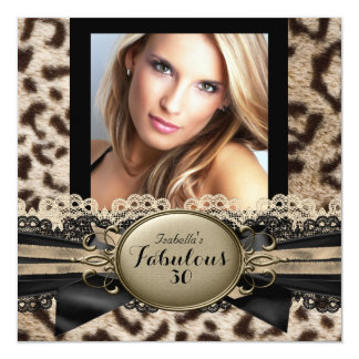 Fabulous 30 Beige Brown Leopard Birthday Party 3 Card