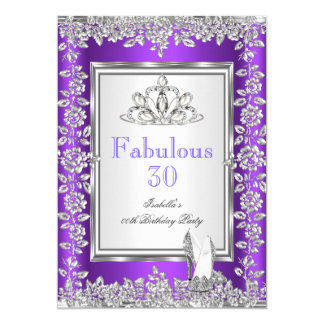 Fabulous 30 Birthday Party Purple Silver Shoes 2 Card