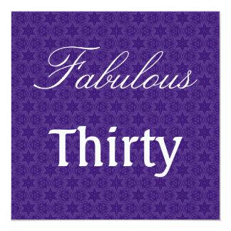Fabulous 30 Birthday Purple Stars Template W1030 5.25x5.25 Square Paper Invitation Card
