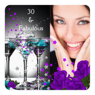 Fabulous 30 Birthday Teal Purple Roses Photo 4 Card