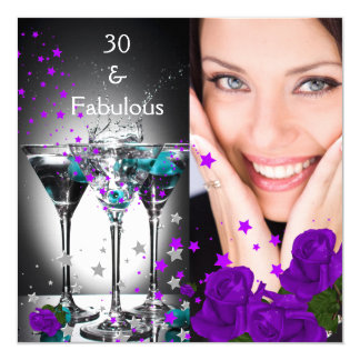 Fabulous 30 Birthday Teal Purple Roses Photo 5.25x5.25 Square Paper Invitation Card