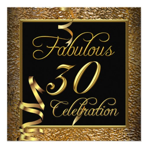 Fabulous 30 Celebration Gold Black Birthday Party Announcement