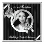 "Fabulous 30 Elegant Chandelier Silver Black Photo 5.25"" Square Invitation Card"
