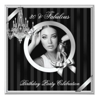 Fabulous 30 Elegant Chandelier Silver Black Photo 5.25x5.25 Square Paper Invitation Card