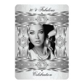 Fabulous 30 Elegant Diamond Gem Silver White Photo Card