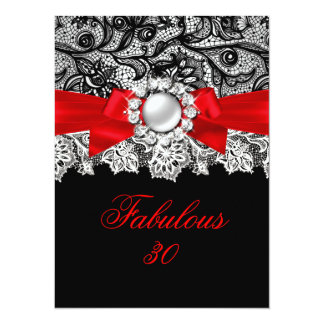 Fabulous 30 Elegant Red Bow Black Jewel Party Card