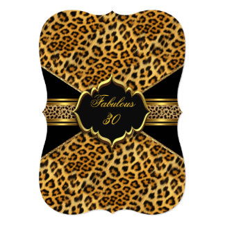 Fabulous 30 Gold Black Leopard 30th Birthday 2 Card