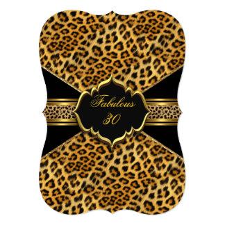 Fabulous 30 Gold Black Leopard 30th Birthday 2 Invite