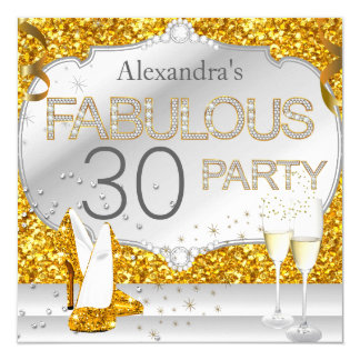 Fabulous 30 Gold Glitter Glamour Birthday Party Card