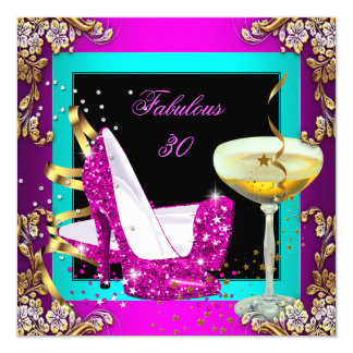 Fabulous 30 Hot Pink Teal Glitter Gold Party Card