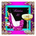 Fabulous 30 Hot Pink Teal Glitter Gold Party Invites