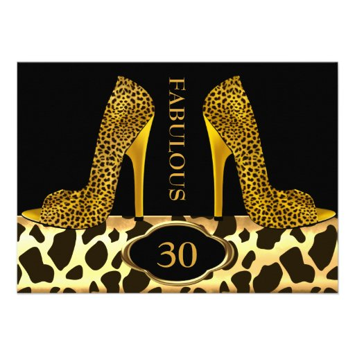 Fabulous 30 Leopard Gold Cheetah High Heels Party Custom Invite