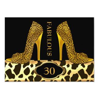Fabulous 30 Leopard Gold Cheetah High Heels Party 4.5x6.25 Paper Invitation Card