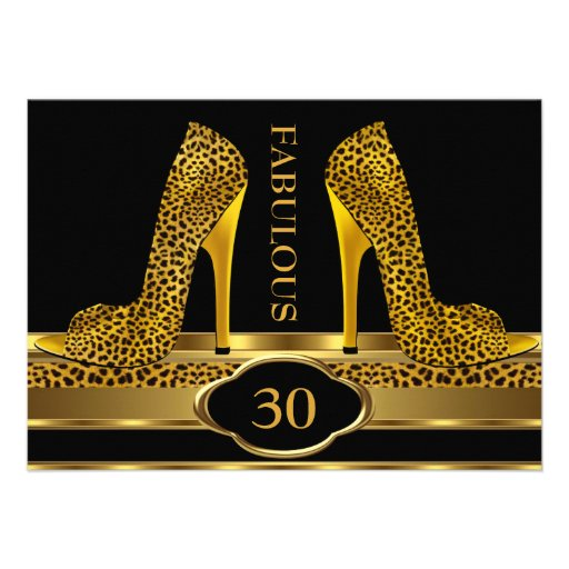 Fabulous 30 Leopard Gold Cheetah High Heels Party Personalized Announcements