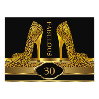 Fabulous 30 Leopard Gold Cheetah High Heels Party 4.5x6.25 Paper Invitation Card